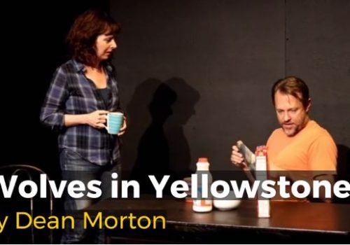 Two actors perform a scene from Dean Morton's play Wolves in Yellowstone.
